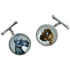 Reverse Painting under Rock Crystal Dog Motif Cufflinks