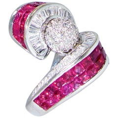 White Diamond and Natural Ruby Ring