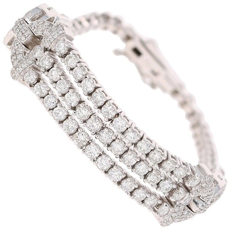 3.91 Carat Diamond White Gold Art Deco Bracelet For Sale