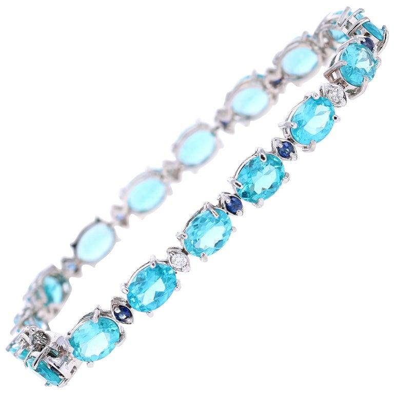 21.36 Carat Apatite Sapphire Diamond White Gold Tennis Bracelet