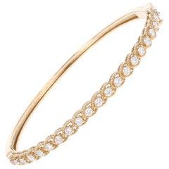 1.22 Carat Round Cut Diamond Yellow Gold Bangle