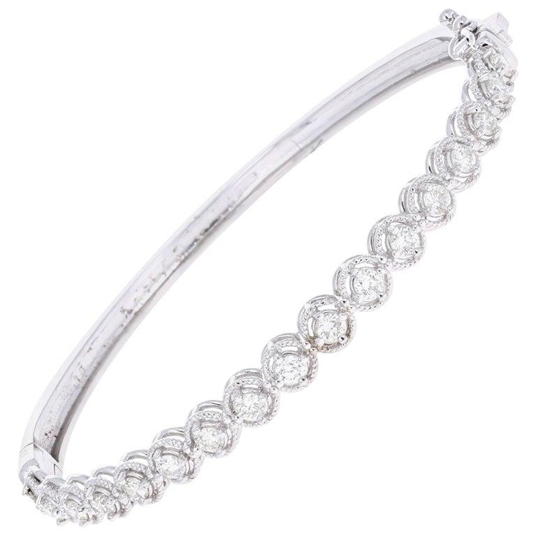 1.46 Carat Diamond White Gold Bangle Bracelet