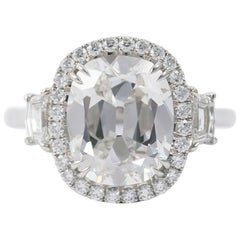 J. Birnbach GIA Certified 5.01 Carat Cushion Cut Diamond Ring