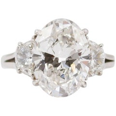 Harry Winston Ring with GIA E VS1 Certified 5.01 Carat Oval Cut Diamond