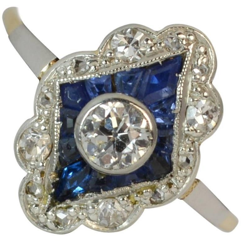Sapphire and Diamond 18 Carat Gold Cluster Ring