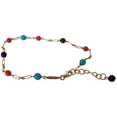 Red and Black Coral Turquoise Bead Handmade Gold Bracelet