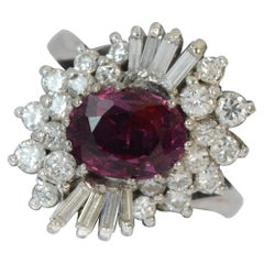 Certified 1.50 Carat No Heat Ruby and Diamond 18Ct Gold Cluster Cocktail Ring
