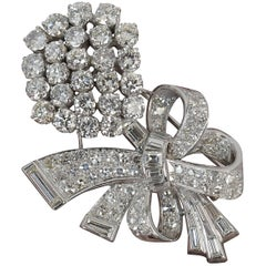 Stunning 10 Carat Diamond and 18 Carat White Gold Vintage Floral Spray Brooch