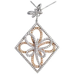 1.31 Carat Fancy Butterfly Shape 18 Karat Rose White Gold Chain Necklace Pendant