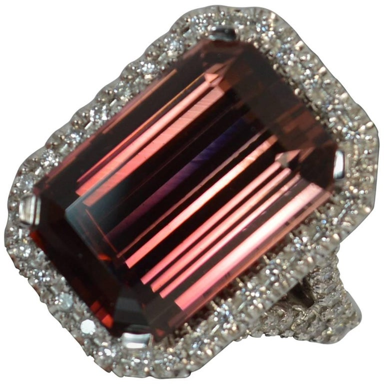 Huge Tourmaline and Diamond 18 Carat White Gold Cluster Cocktail Ring