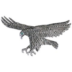 Antique Victorian Eagle Brooch Silver, circa 1900