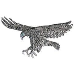Antique Victorian Eagle Brooch Silver, circa 1900