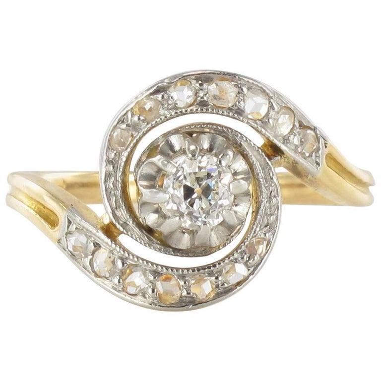 1920s French Belle Epoque Diamond Engagement Swirl Ring