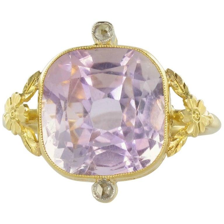 1900s 7.75 Carat Cushion Cut Amethyst Rose Cut Diamond Yellow Gold Ring
