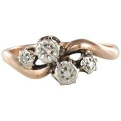 French 19th Century Rose Cut Diamond 18 Karat Rose Gold Ring