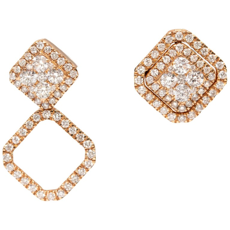0.90 Carat Fancy Changeable Square Cluster Drop 18 Karat Gold Diamond Earrings