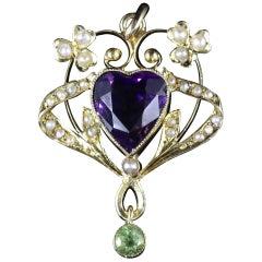 Antique Victorian Suffragette Heart Pendant, circa 1900