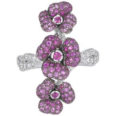 Pink Sapphire, Ruby and Diamonds White Gold Flower Ring