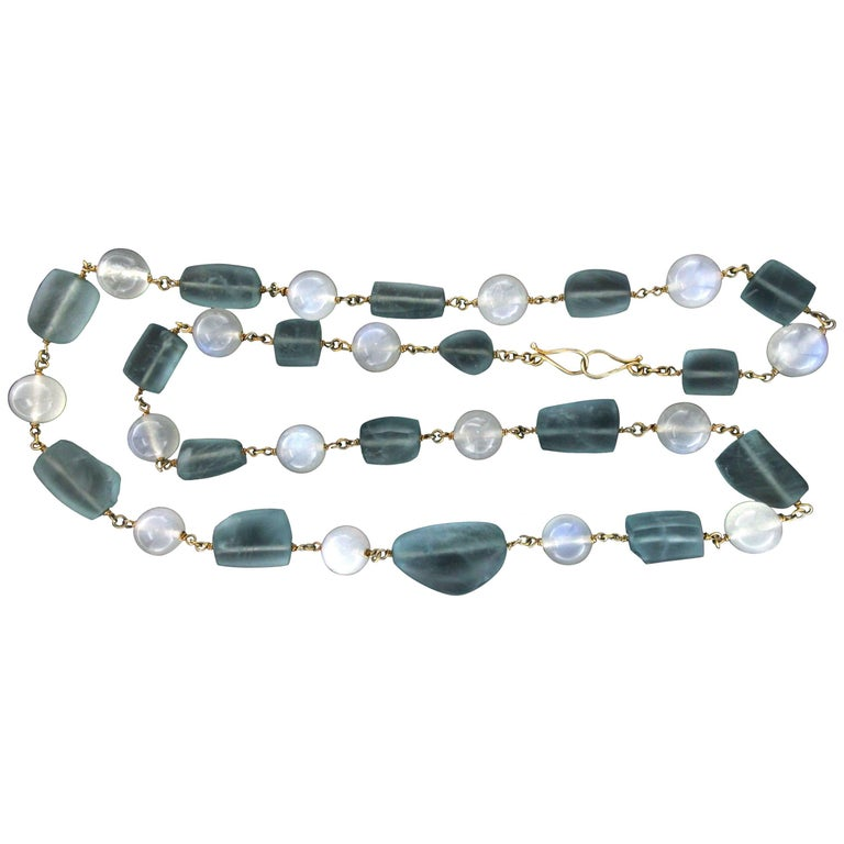 Silver and Moonstones Aquamarine Necklace