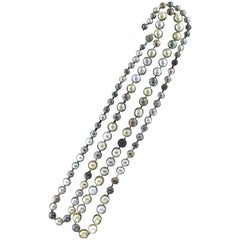 Tahitian and Australian Pearls One Strand Necklace