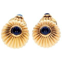 1991 Cartier Gold Melon Bead Blue Sapphire Cufflinks