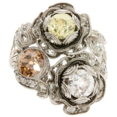 Floral Platinum and Fancy Diamond Cocktail Ring, circa 1910