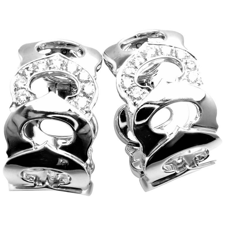 Cartier Diamond C De Cartier White Gold Hoop Earrings