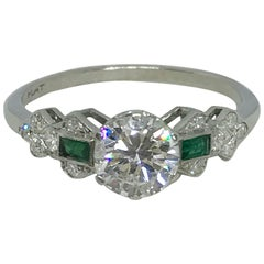 Art Deco 1 Carat Diamond and Emerald Platinum Set Ring