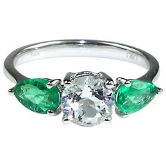 Silver Topaz and Emerald Ring