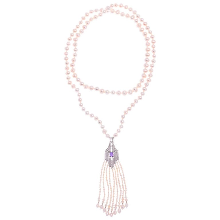 Freshwater Pearl Amethyst Sterling Silver Opera Length Necklace