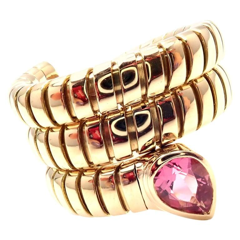 Bulgari Tubogas Pink Tourmaline Coil Snake Yellow Gold Band Ring