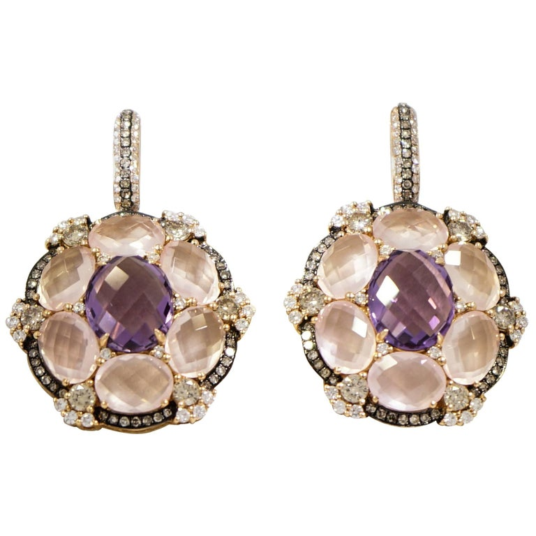 Pink Quartz and Amethyst Rose Gold Earrings