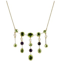 Antique Victorian Suffragette Necklace Peridot Amethyst Pearl, circa 1900