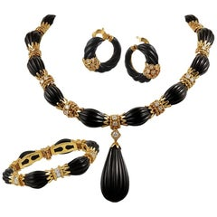Van Cleef & Arpels Diamond, Onyx Necklace Suite