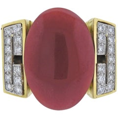 David Webb Coral Diamond Enamel Gold Platinum Ring