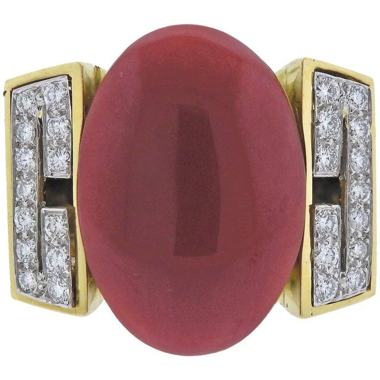 David Webb Coral Diamond Enamel Gold Platinum Ring