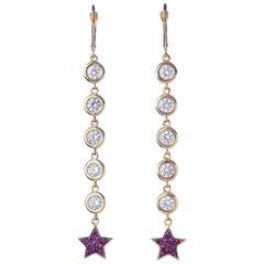 Yellow Gold Sapphire Ruby Dangle Drop Earring
