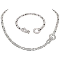 Cartier White Gold Diamond 'Agrafe' Necklace, Bracelet
