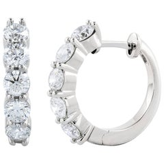 2.36 Carat Total Five-Stone Diamond Hoop Earrings