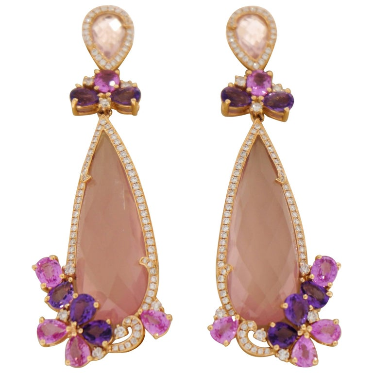 Pear Shaped Pink Quartz, Pinks Sapphires and Amethyst Drop Earrings