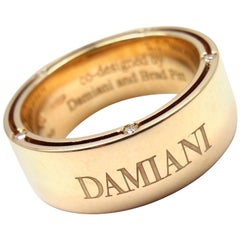 Damiani and Brad Pitt Diamond Wide Yellow Gold Band Ring