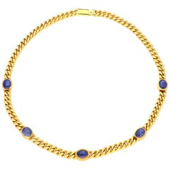 Bulgari 18 Carat Yellow Gold Curb Link Chain Set with Sapphire Oval Cabochons