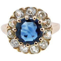 Pleasant Antique Sapphire and Diamond Ring