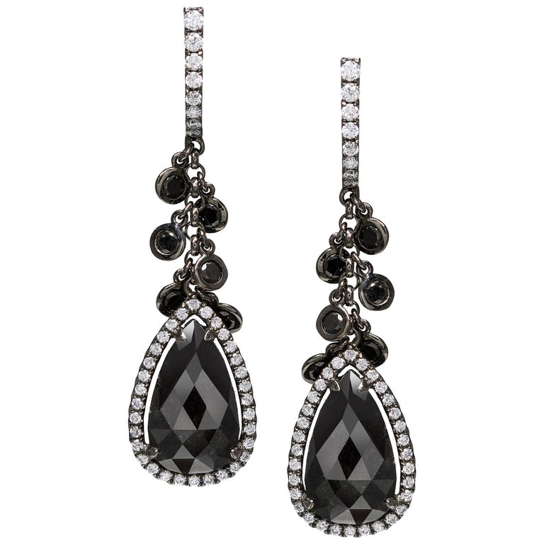 Pear Shaped Black Diamond Halo Dangle Earrings
