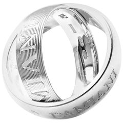 Damiani Diamond Double White Gold Band Ring