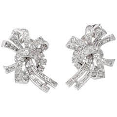 1950s Diamond Platinum Ribbon Bow Clip-Back Earrings