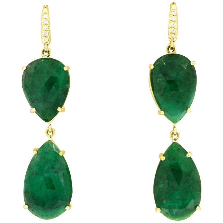 Pear Shaped Emerald and Diamond Drop Earrings by Lauren K