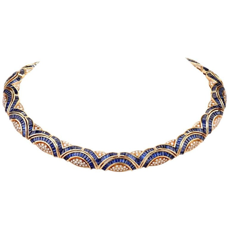 Blue Sapphire Diamond 18 Karat Yellow Gold Choker Necklace