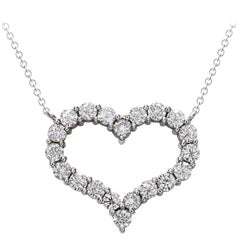 Round Diamond Open Heart Pendant Necklace