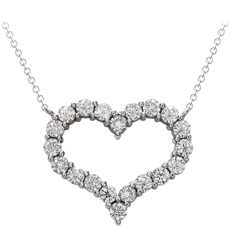 Open work diamond fancy heart pendant necklace for sale at 1stdibs round diamond open heart pendant necklace mozeypictures Image collections